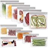 SPLF 12 Pack BPA FREE Reusable Storage Bags (6 Reusable Sandwich Bags, 6 Reusable Snack Bags), Extra Thick Freezer Bags Leakproof Silicone and Plastic Free Lunch Bags for Food Meat Fruit Veggies