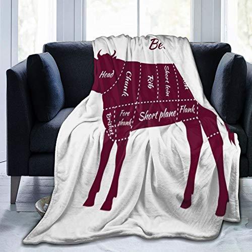 ZOMOY Manta de Franela Suave,Vaca Toro Cortes de Carne Parte de Ternera Esquema de Plato Corto Lomo Cocinar Parrilla Alimentos Agricultura Tabla,Cama de Camping para sofá 204x153cm