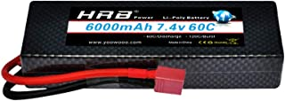HRB 6000mAh 7.4V 60C 2S Hard case LiPo Battery Packs with Deans T Plug Connector for RC 1/8 1/10 Scale Vehicles Car,Trucks...