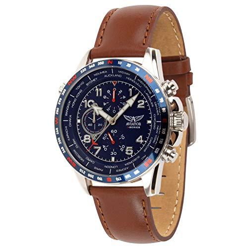 Aviator - Orologio/cronografo da uomo, con cinturino in pelle marrone,...