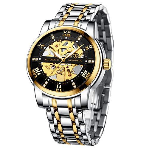 Reloj de hombre mecánico de acero inoxidable esqueleto impermeable automático automático números romanos reloj de pulsera con esfera de diamante