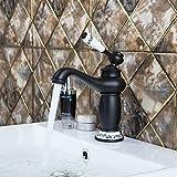 WEILINW Grifería debaño de lavabo corto, bronce frotado,orificio único, grifos para lavamanos, grifos mezcladores