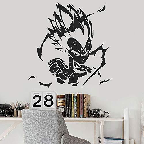 Vegeta Anime Vinyl Wall Decal Home Decoration Dragon Ball Z Character Wall Poster Removable Car Window Vinyl Sticker Art 57x59cm