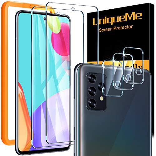 [2+3 Pezzi] UniqueMe Pellicola Protettiva Compatibile con Samsung Galaxy A52, [2 Pezzi] Vetro Temperato Pellicola e [3 Pezzi] Pellicola Fotocamera ,[Bubble-Free] Anti-Scratch