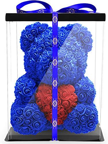 ROSEBEAR Blumenbär mit Geschenkbox -...