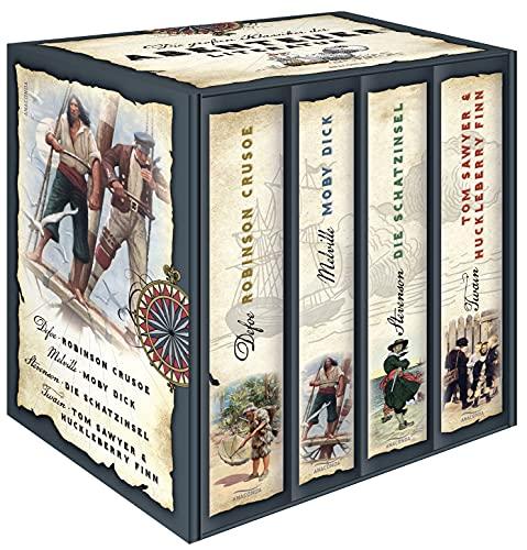 Die großen Klassiker der Abenteuerliteratur - Robinson Crusoe - Moby Dick - Die Schatzinsel - Tom Sawyer & Huckleberry Finn (4 Bände im Schuber)