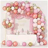 ZHMIAO Juego de 144 globos rosados con arca para bodas, fiestas de cumpleaños, atmósfera romántica, decoración para niñas y niños