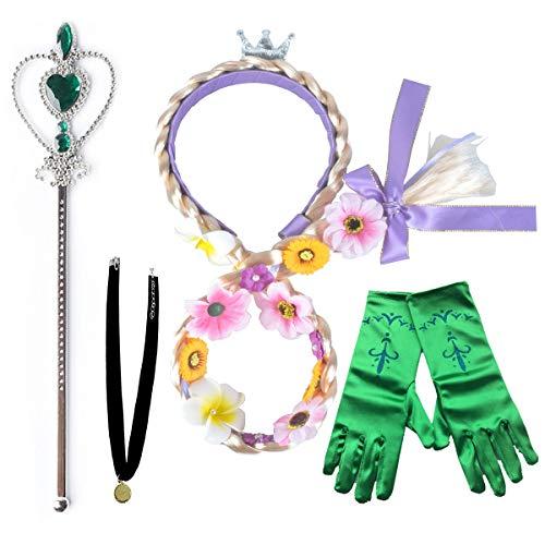 L-Peach 子供用 4点セット プリンセス アクセサリー ティアラ 三つ編みウィッグ 手袋 魔法のスティック キッズ 女の子 カニバル ハロウィン コスプレ 変身コスチューム小物 誕生日プレゼント