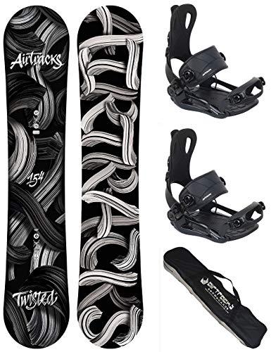 AIRTRACKS Snowboard Set - Tabla Twisted Wide 158 - Fijaciones Master M - SB Bag