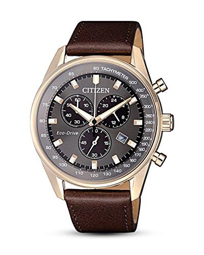 Citizen Herren Chronograph Quarz Uhr mit Leder Armband AT2393-17H