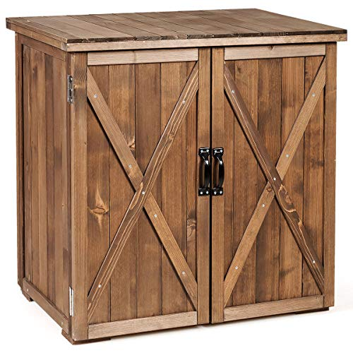GYMAX Wooden Storage Shed, Outdoor Storage Box with Double Doors, Tool Storage Chest for Garden, Balcony, Patio and Garage