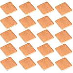 Easycargo 20pcs Heatsink Copper Pad Shims 15x15mm+ 3M 8810 pre Applied Thermal Conductive Adhesive Tape on Heat Sink for Cooling Laptop GPU CPU IC Chips VGA RAM (15x15x0.5mm)