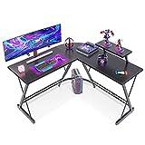 Casaottima L Shaped Desk, 51' Gaming Desk, Computer Desk, L Desk, Home Office Desk with Round Corner with Large Monitor Stand Workstation,Black