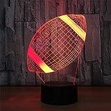 2020 Paneles ilusión 3D Optical Smart luz de la noche llevó la visión virtual del ahorro de energía de las luces de noche Tabla mesa portátil moderna lámpara de Rugby regalo creativo de acrílico 7 Col