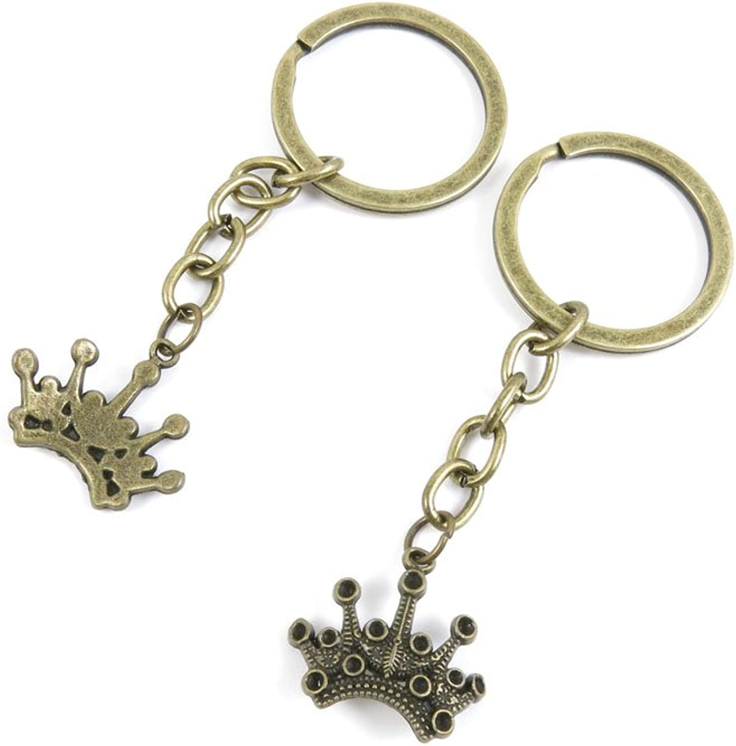 100 PCS Keyrings Keychains Key Ring Chains Tags Jewelry Findings Clasps Buckles Supplies R7OT9 Crown