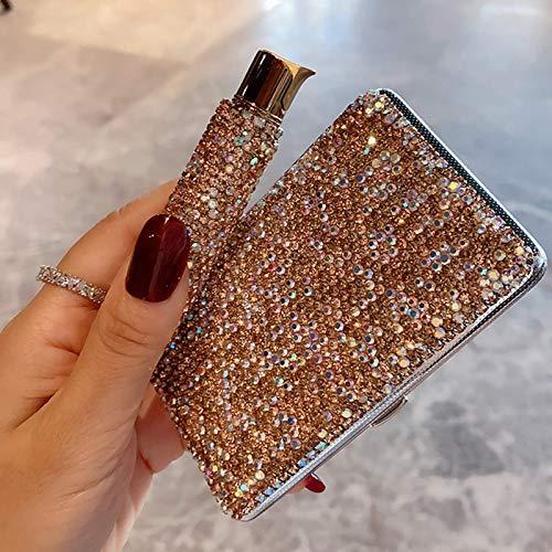 Tragbare Bling Feuerzeug Zigarettenetui - Luxus Elektrische USB Wiederaufladbare Spule Sicherheit Winddicht Flameless Mini Slim Und Tragbare Taschenbox Glitter Strass Kristall, Gold