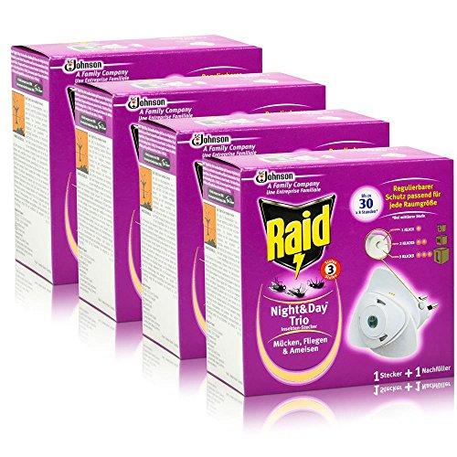 4x Raid Night & Day Trio Insekten Stecker & Nachfüller, gegen Mücken, Fliegen & Ameisen
