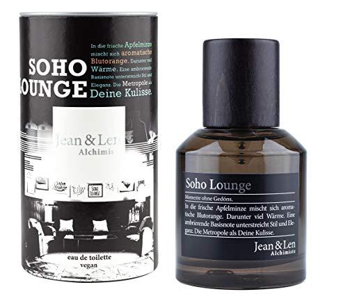 Jean & Len herengeur Soho Lounge, parfum voor heren, eau de toilette, geurnoten: verleidelijk, mysterieus, elegant, klassiek, 50 ml, 1 stuk