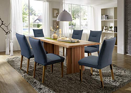 SAM Esszimmertisch 200x100 cm Julian, Wildeiche massiv, geölt, Baumkantentisch mit Holzgestell, 40 mm aufgedoppelte Tischplatte