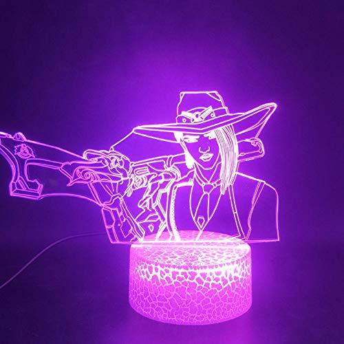Juego de lámpara de ilusión 3D Overwatch Hero Ashku Spaceship7 variaciones de color gradientes placa acrílica lámpara de escritorio decoración de dormitorio-16 color remote control