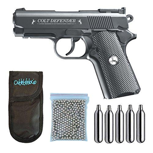 Outletdelocio. Umarex U58310. Pistola Perdigon Colt Defender. Gas Co2. 4,5Mm. + Funda Portabombonas + Balines + Bombonas Co2. 23054/29318/38123