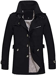 Realdo Mens Business Casual Jacket, Overcoat Outwear Slim Long Trench Buttons Coat