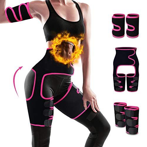 PATHONOR Waist Trainer Belt for Women 5-in-1 Waist Trimmer Belt Arm Thigh Calf Trimmer Belt Weight Loss for Women Man Gym Fitness Run Yoga