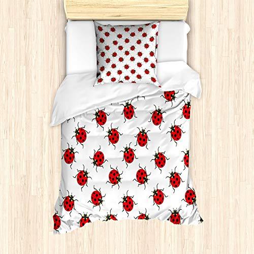 ABAKUHAUS Kids Bettbezug Set für Einzelbetten, Marienkäfer-Muster, Milbensicher Allergiker geeignet mit Kissenbezug, Weiß Rot