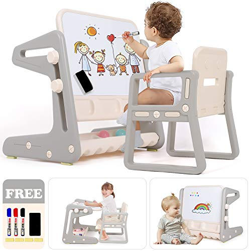Hadwin Kids Table and Chairs, Multifunctional Children's Table 3-in-1 Activity Table & Study Table with Chairs, Convertible Kids Art Easel with Magnetic Whiteboard & Pen & Storage Tray for Boys Girls
