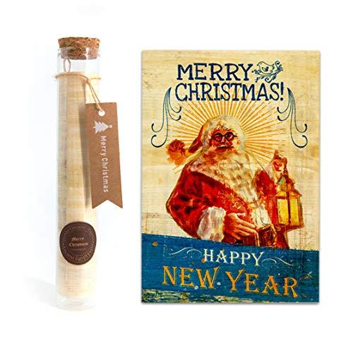 Christmas Card On Old Egyptian Papyrus - Hand Made Christmas Card (Christmas Card On Old Egyptian Papyrus - Hand Made Christmas Card (1, Santa Claus - Bottle))