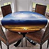 "Elastic Edged Polyester Fitted Table Cover,Sun and Dark Stormy Sky with Lightning Heaven and Hell Good and Evil,Fits up 40""-44"" Diameter Tables,The Ultimate Protection for Your Table,Blue Orange Black"