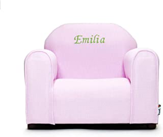 Upholstered Personalized Kids Chair Checkers (Pink)