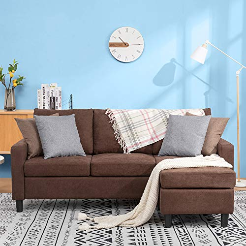 JY QAQA Convertible Sectional Sofa Couch with Reversible Chaise, L-Shaped Couch with Modern Linen Fabric for Small Space (Brown)