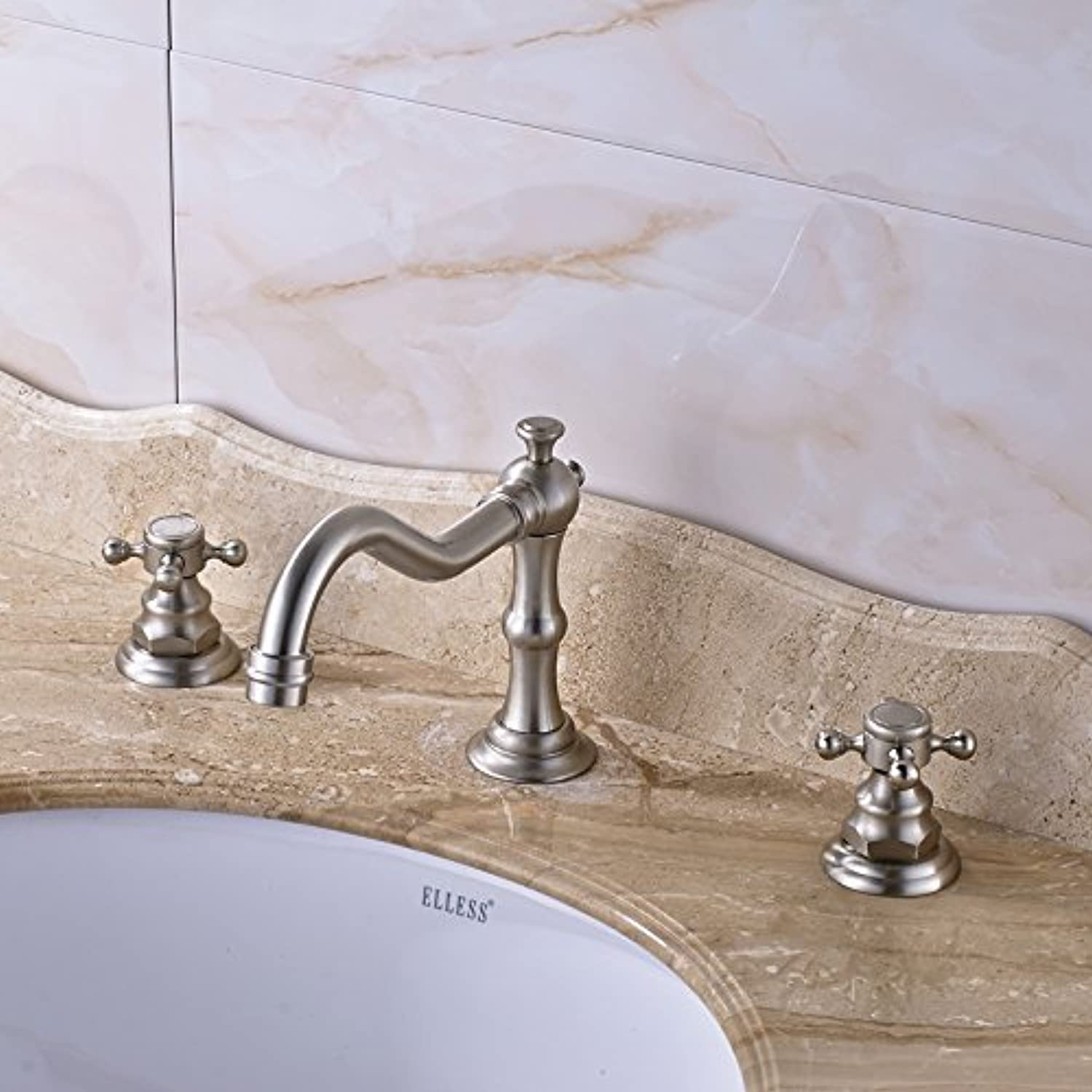 Maifeini The New Arrival Washbasin Faucet Polish Nickel Deck Inssizetion Of Two Of The Three Holes In The Handle