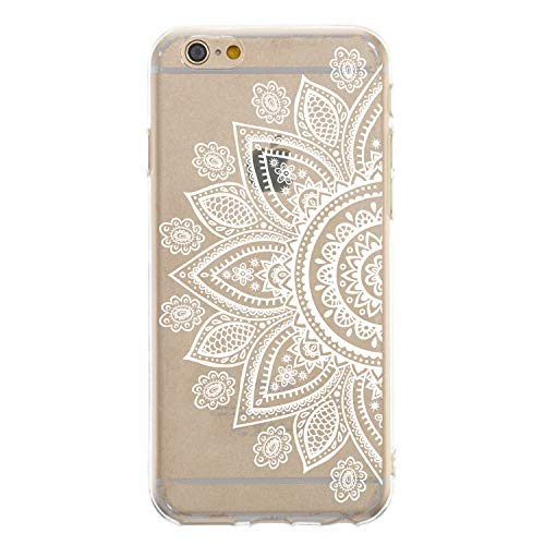 CrazyLemon iPhone 6S Hülle, iPhone 6 Hülle, Silikon Dünn Case 3D Kreativ Geprägt Lack Printed Muster Transparent Leicht Cover Ultra Slim TPU Schlank Bumper Handyhülle - Halbweiße Blume