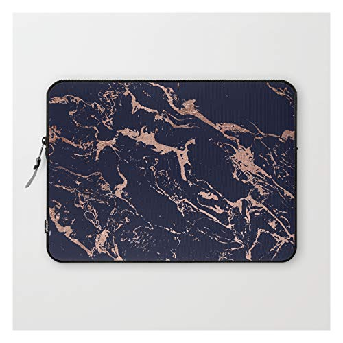 Laptop Sleeve - Laptop Sleeve - 13' - Modern Chic Navy Blue Rose Gold Marble Pattern by Girly Trend