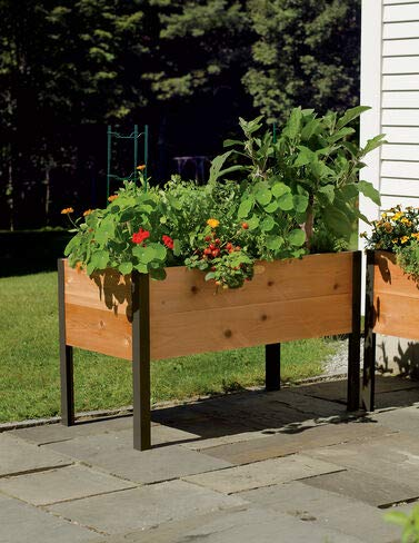 "Gardener's Supply Co. 2 Ft x 4 Ft Raised Garden Bed Elevated Cedar Planter Box (24"" x 48"") Standing Garden"