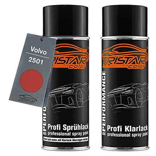 TRISTARcolor Autolack Spraydosen Set für Volvo 2501 Bright Red Metallic Basislack Klarlack Sprühdose 400ml