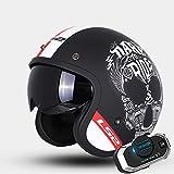 Personalidad Cráneo Vintage Harley Cascos Moto Half-Helmet con Auriculares Bluetooth, Transpirable Cálido Adulto Hombres Mujeres Casco Jet ECE Certificado L-4XL, Blanco Negro,Negro,XXXL