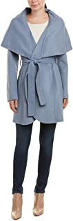 Women's Marla Double face Wool Wrap Coat with Oversized Collar Pale Blue