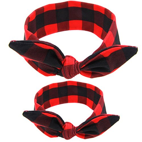 ZOONAI Parent Baby Girl Turban Headband Newborn Head Wrap Knotted Rabbit Headwear (Red Plaid)