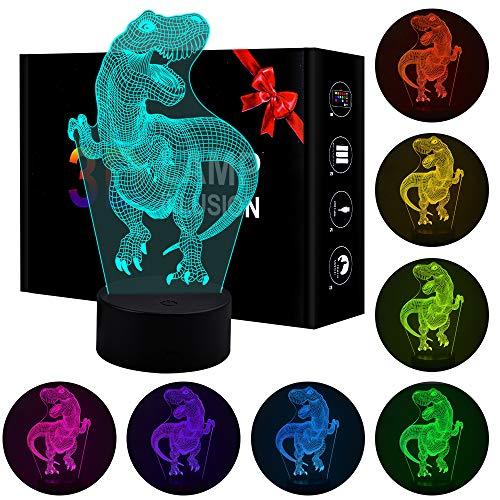 Regalo de cumpleaños Jeudy para niños, Juguetes de luz Nocturna de Dinosaurio 3D para niños de 3-8 años Regalo para niños de 3-8 años Lámpara de decoración de dormitorios para niñas de 3-8 años