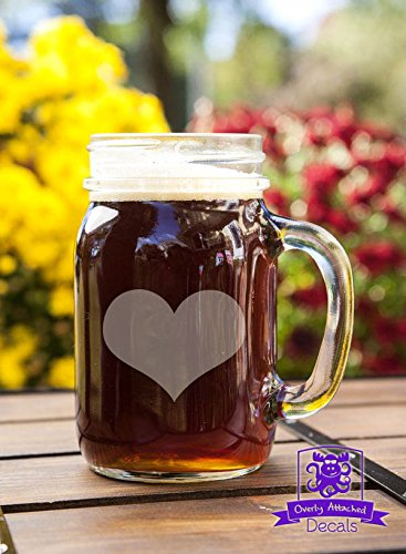Heart Mason Handled Jar Beer Mug Gift