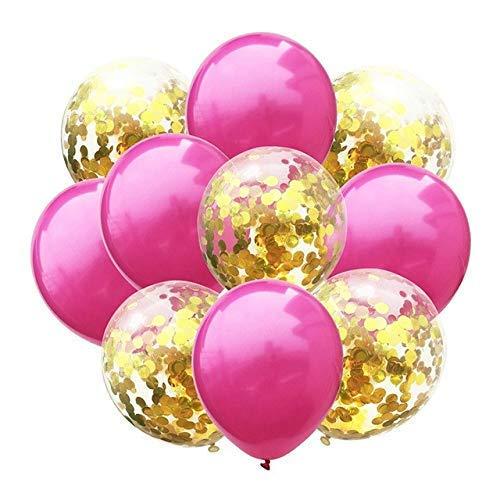 DHTOMC Globos de látex de metal, 10 unidades, globos de confeti para boda, fiesta de cumpleaños, decoración de globos de helio de fiesta de bebé