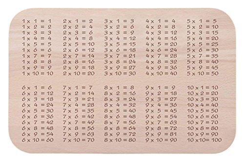 Frühstücksbrettchen zum Lernen für Kinder aus Buche Holz - Das Original 1x1 Brotzeitbrett - schönes Geschenk zur Einschulung für Mädchen & Jungen
