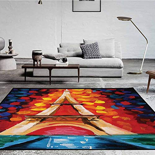 Lakehouse Decor Collection Standing Mat for Living Room, Bedroom and Hard Floor Eiffel Tower Paris France a Romantic Night with Colorful Lights Oil Painting Black Red Orange Navy Ivory 5 x 2.5 ft