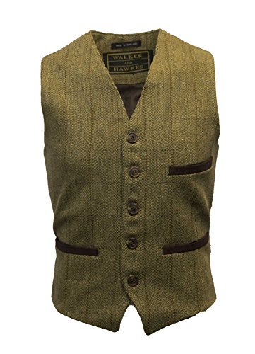 Walker and Hawkes - Gilet in Tweed Formale - Rivestito in Teflon - Uomo - Salvia Chiaro - X-Large