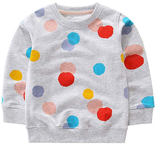 Bumeex Toddler Girls Cotton Cute Crewneck Sweatshirts 3t Grey Marl