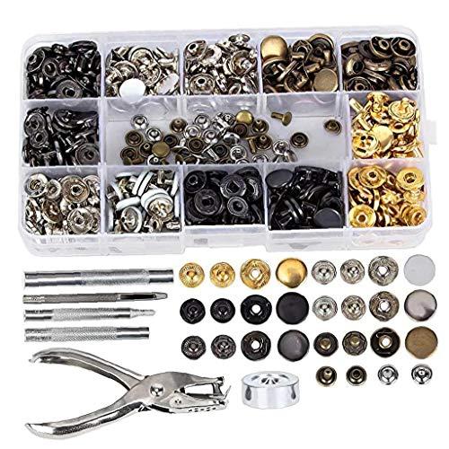 Uayasily Conjunto de Metal Broche de presión del Remache DIY Herramienta Sujetador del Remache de fijación Kit de Herramientas Hombres Mujeres Reparaciones Decoración 286PCS