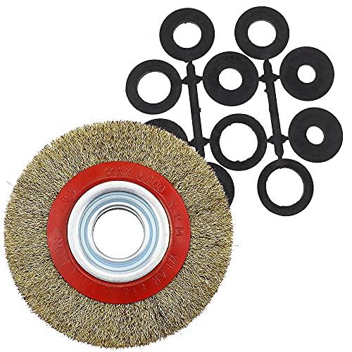 YPLonon - Cepillo de Rueda de Alambre de Acero Chapado en Cobre Disco Cepillo para Amoladora con Casquillos Adaptadores - para Esmeriladora de Banco y Amoladora a Limpiar y Pulir